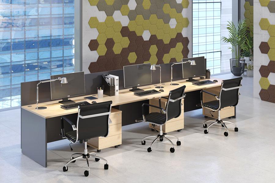 Фото Коллекция оперативной мебели на опорах-панелях LAVORO PANEL. Декоративные панели PUZZLE с эффектом звукопоглощения.