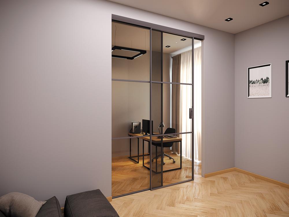 Раздвижные системы дверей NAYADA Telescopic/Synchro в офисе